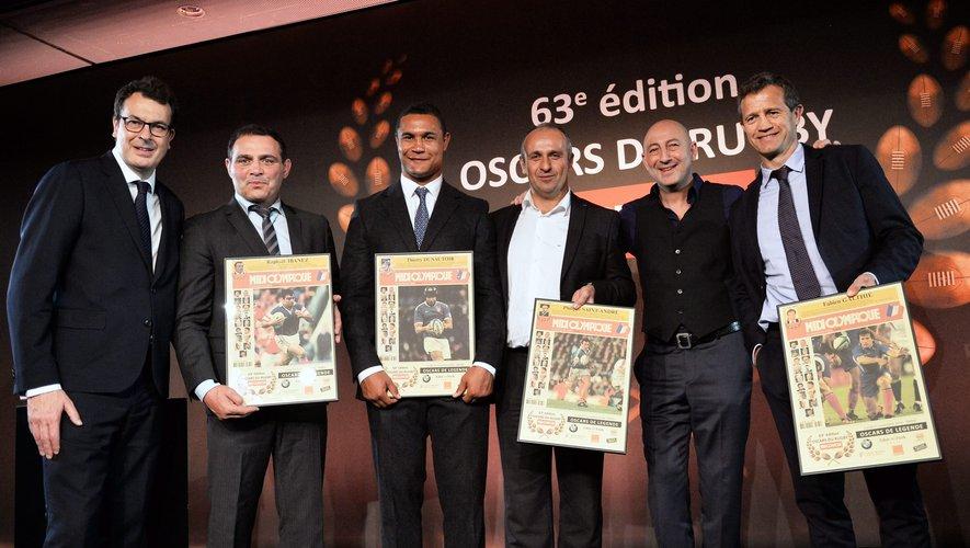 Raphaël Ibanez, Thierry Dusautoir, Philippe Saint-André et Fabien Galthié