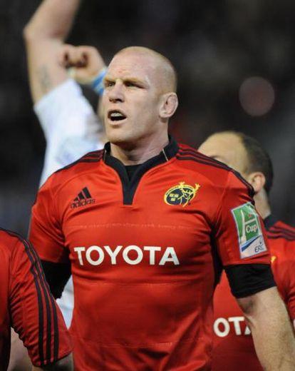 """<p class=""""txt-legende-2011""""><B>O'Connell, deuxième ligne du Munster jusqu'en 2015. Photo B.G</B></p>"""