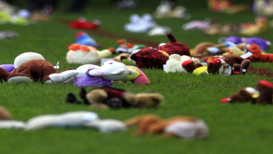 """<p class=""""txt-legende-2011""""><B>5000 peluches collectées en hommage au président Rivière. </B><I>Photo S.T.-N.</I></p>"""