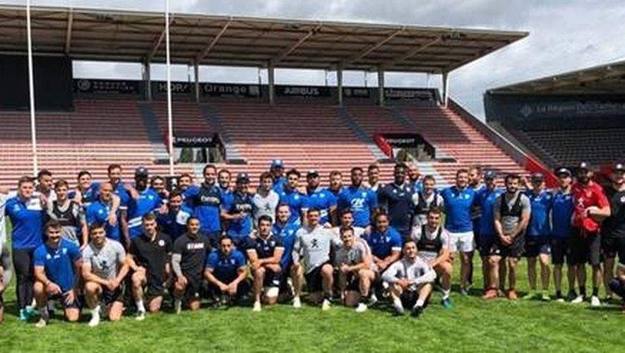 Le Stade toulousain à l'entraînement avec le Toulouse Olympique