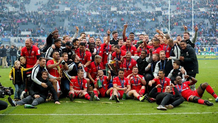 La joie des joueurs des Saracens après la victoire en finale de Champions Cup contre le Leinster