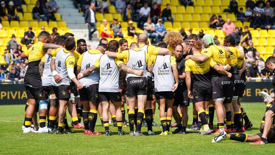 Les joueurs de La Rochelle avant d'affronter l'Union Bordeaux-Bègles