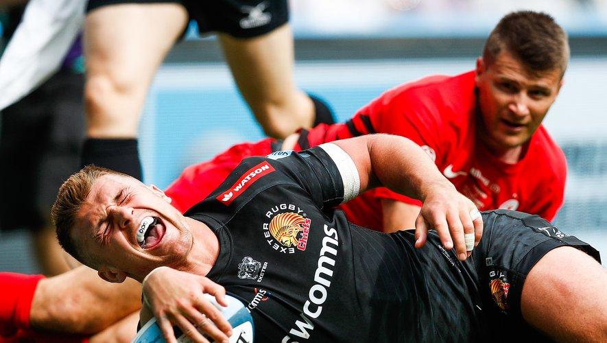 Henry Slade (Exeter) contre les Saracens en finale de Premiership