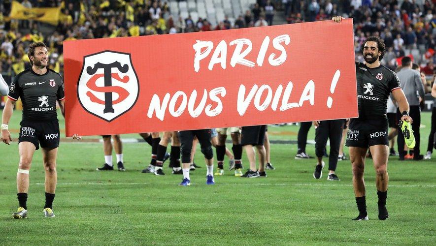 Maxime Médard et Yoann Huget (Toulouse) après la victoire en demi-finale contre La Rochelle