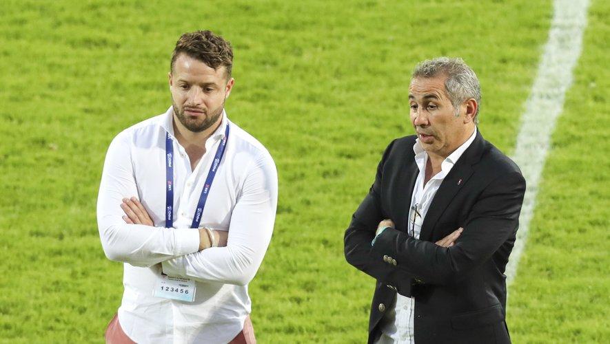 Jean Baptiste Aldigé (Président de Biarritz olympique) et Philippe Tayeb (Président de  l'Aviron bayonnais)