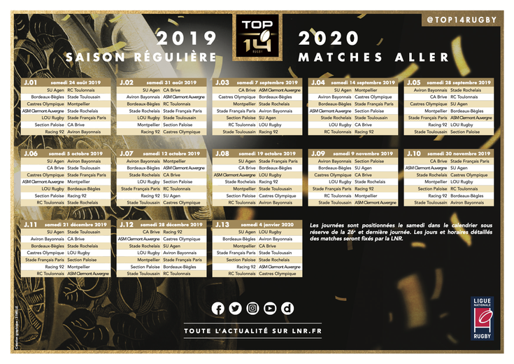 Calendrier Coupe D Europe Rugby 2020.Le Calendrier Top 14 Edition 2019 2020 Est Connu Midi