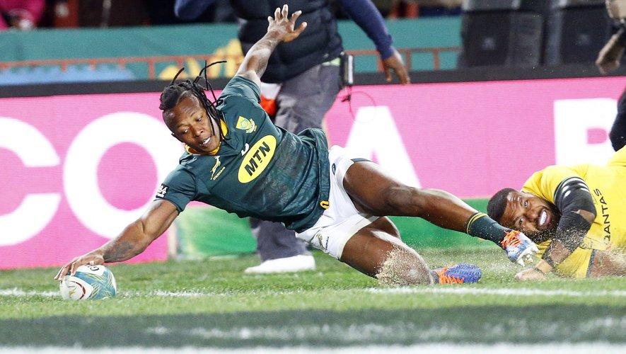 L'ailier sud-africain S'busiso Nkosi a rattrapé ses errements défensifs en inscrivant un essai en fin de match. Photos MaxPPP