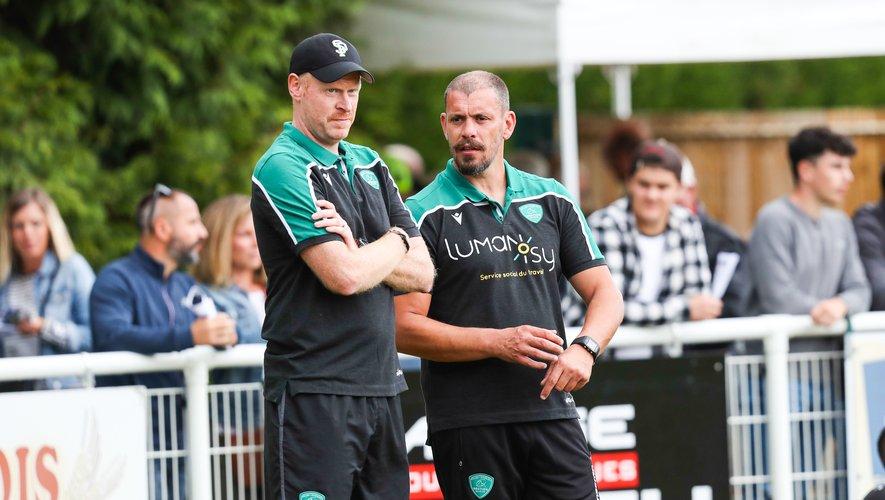 Nicolas Godignon et Iain Cleland (Pau) lors du match amical contre Mont-de-Marsan