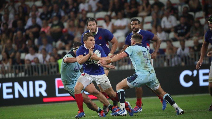Antoine Dupont (France) contre l'Écosse lors du premier test match remporté par les Bleus