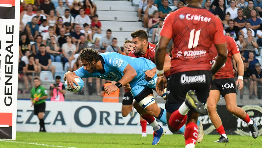 Match amical - Martin Devergie inscrit le premier essai des Montpelliérains. À ce moment-là, les Héraultais avaient la main sur le match mais cela n'allait pas durer...