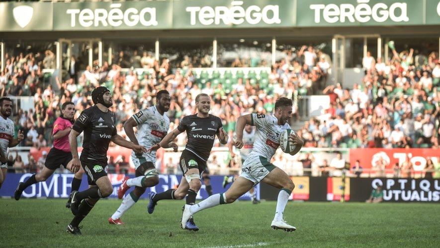 79e minute : après une passe au pied de Samuel Marques, Antoine Hastoy marque l'ultime essai du match pour finir en beauté. Photo