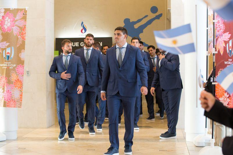 L'arrivée des joueurs argentins à la cérémonie d'accueil