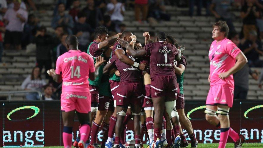 La joie des Bordeaux lors de la victoire contre le Stade français