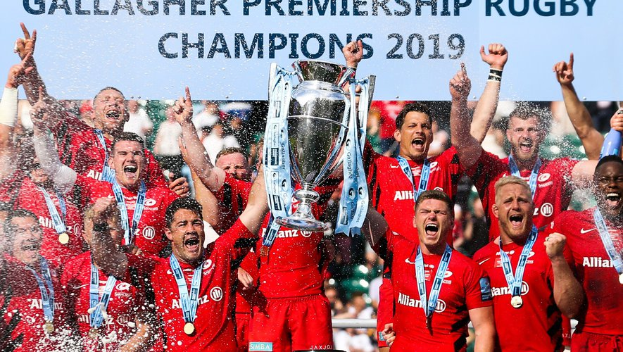 Les Saracens vainqueurs du championnat anglais en 2019.