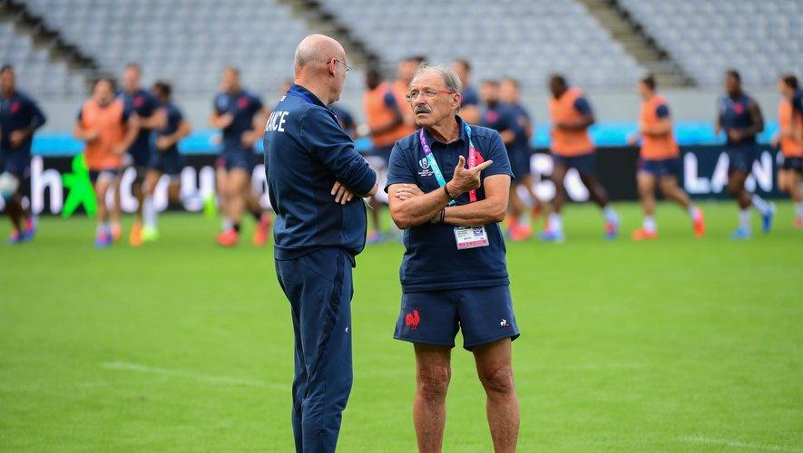 Bernard Laporte et Jacques Brunel (France) avant le match contre l'Argentine