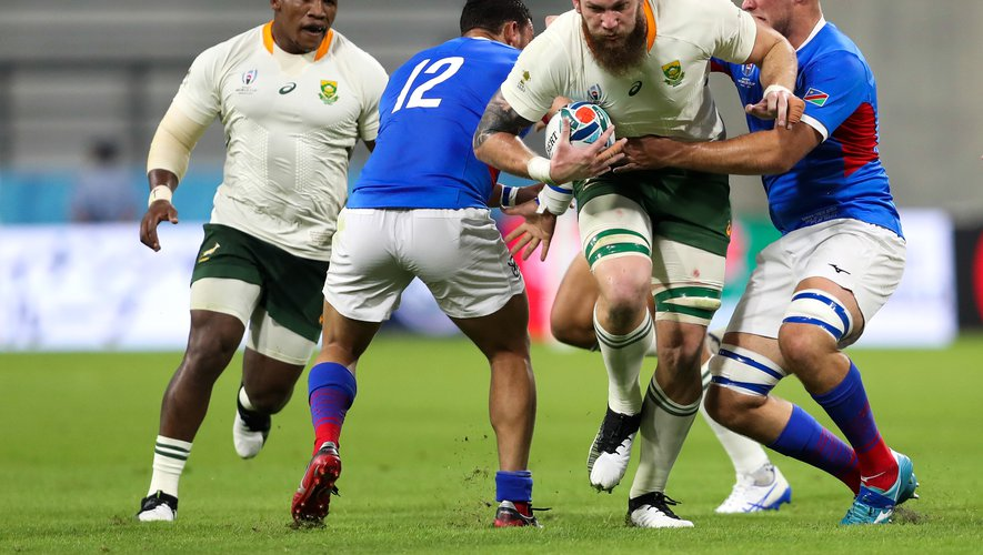 South Africa's RG Snyman goes through Namibia's Peter John Walters and Johan Retief during the 2019 Rugby World Cup match at the City of Toyota Stadium, Toyota City, Japan. ..Photo by Icon Sport - RG SNYMAN - Johan RETIEF - Toyota - Toyota (Japon)