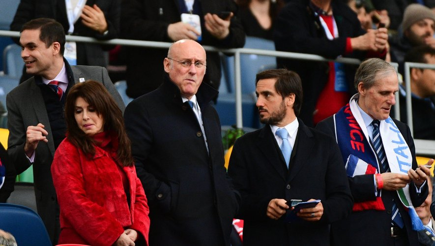 Tournoi des 6 Nations 2019 - Bernard Laporte (président de France Rugby) et Agustin Pichot (vice-président de World Rugby)