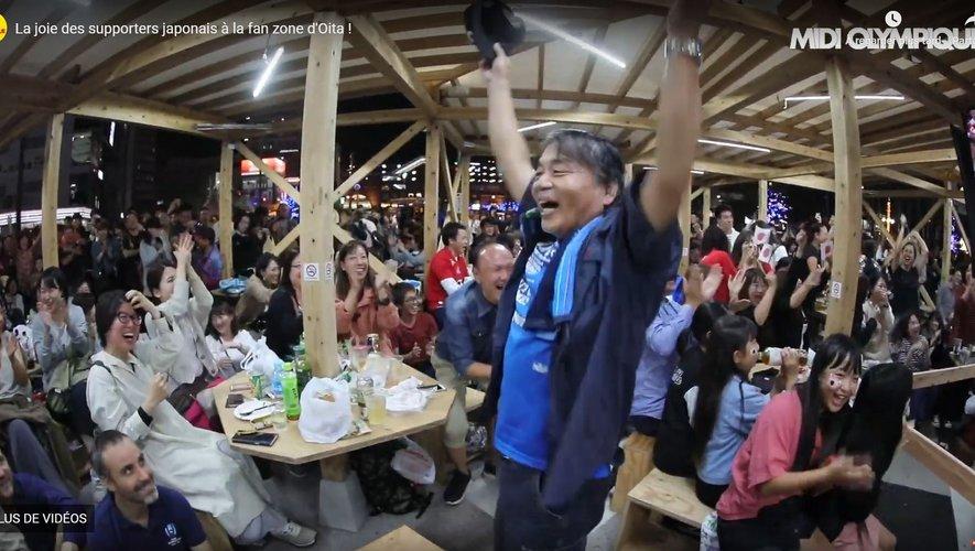 Coupe du monde 2019 - Les supporters japonais en pleine liesse après la victoire du Japon sur l'Écosse