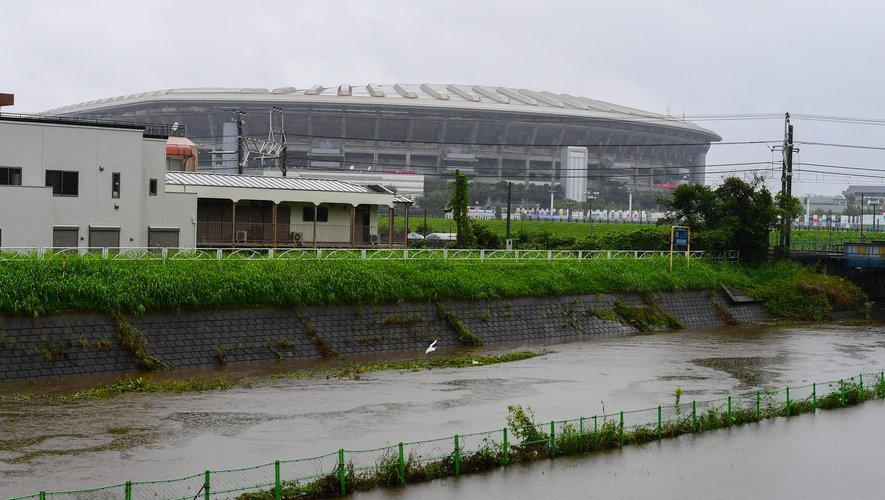 Le stade de Yokohama avant le passage du super typhon Hagibis