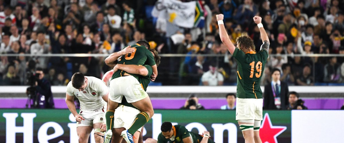 1st November 2019, Yokohama, Japan;  Players of South Africa celebrate after hearing the final whistle during the 2019 Rugby World Cup Final match between England and South Africa at the International Stadium Yokohama in Yokohama, Kanagawa, Japan on November 2, 2019.   Photo by Icon Sport - --- - International Stadium Yokohama - Yokohama (Japon)