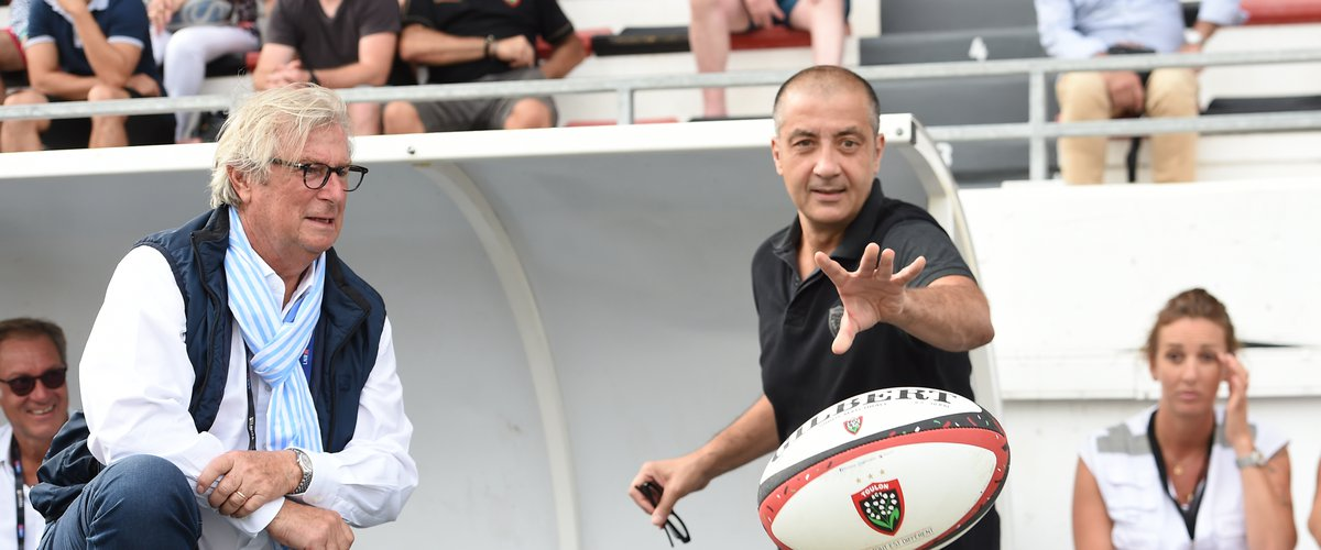 Jacky LORENZETTI chairman of Racing 92  and Mourad BOUDJELLAL chairman of Toulon  during the Top 14 match between Toulon and Racing92 at Felix Mayol Stadium on September 15, 2019 in Toulon, France. (Photo by Alexandre Dimou/Icon Sport) - Jacky LORENZETTI - Stade Felix Mayol - Toulon (France)