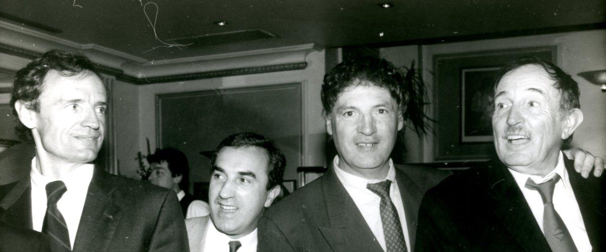 Denis Lalanne, ici avec André Boniface qu'il a tant soutenu. À droite, Denis Lalanne à l'époque où il fêtait ses 90 ans : il était un conteur hors pair tout simplement, servi par la richesse de son vocabulaire et de sa culture. Photo Midi Olympique archives