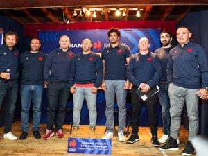 Fabien Galthié et le staff de l'équipe de France de rugby.