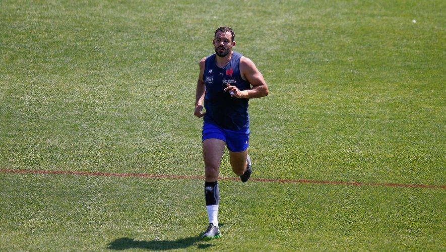 Geoffrey Doumayrou (XV de France) lors d'un entraînement avec les Bleus