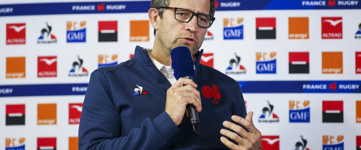 Fabien Galthié lors de la présentation de la liste des 42 joueurs retenus pour le 1er match du Tournoi des 6 Nations contre l'Angleterre