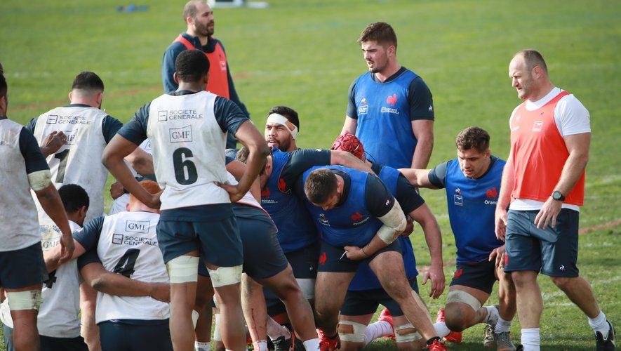 Le groupe France à l'entraînement, à Nice.