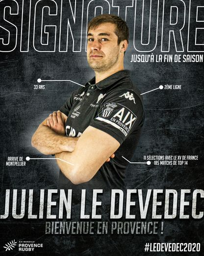 Julien Le Devedec a signé à Provence Rugby en provenance de Montpellier