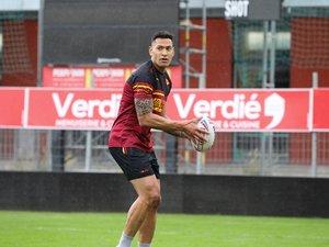 Israel Folau lors de son premier entraînement avec les Dragons Catalans