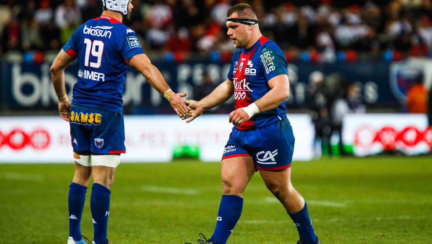 Jerome REY of Grenoble and Steeve BLANC MAPPAZ of Grenoble during the Pro D2 match between Grenoble and Perpignan at Stade des Alpes on February 13, 2020 in Grenoble, France. (Photo by Romain Biard/Icon Sport) - Steeve BLANC MAPPAZ - Jerome REY - Stade des Alpes - Grenoble (France)