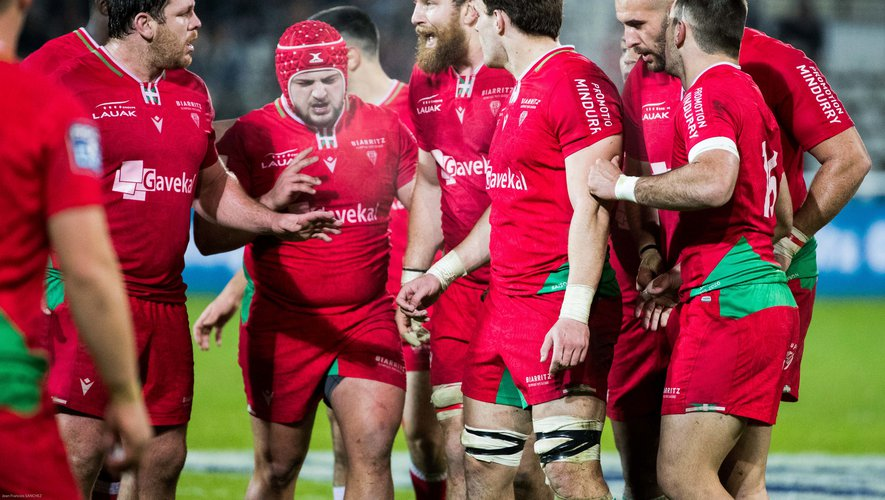 Team of Biarritz during the Pro D2 match between Biarritz and Perpignan on February 20, 2020 in Biarritz, France. (Photo by JF Sanchez/Icon Sport) - --- -  (France)