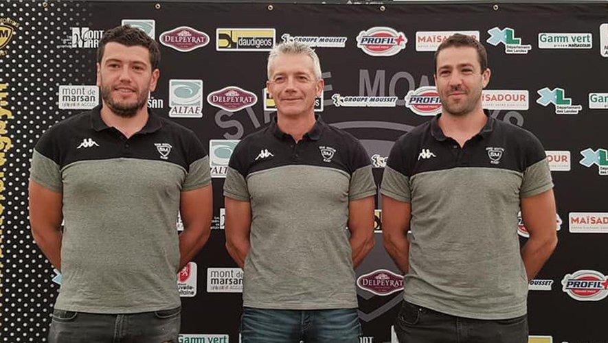 Voici les trois nouveaux responsables du sportif, de gauche à droite : Julien Tastet (entraîneur princial), Patrick Milhet (manager) et Rémi Talès (trois-quarts et défense) Photo SMR