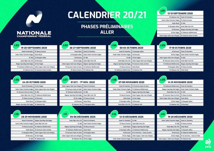 Calendrier Champions Cup 2021 Le calendrier de Nationale est connu   midi olympique.fr