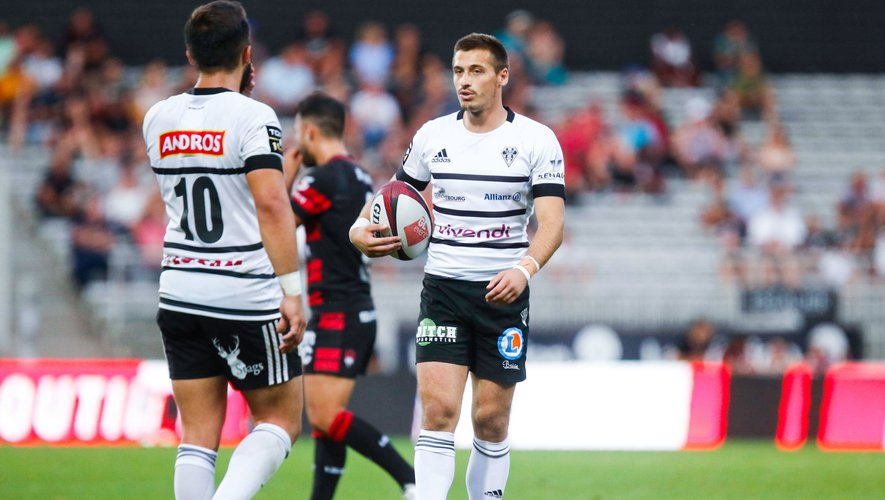 Julien BLANC of Brive and Enzo HERVE of Brive during the Top 14 match between Lyon OU and Brive at Stade Gerland on September 14, 2019 in Lyon, France. (Photo by Romain Biard/Icon Sport) - Julien BLANC - Stade Amedee-Domenech - Brive-la-Gaillarde (France)