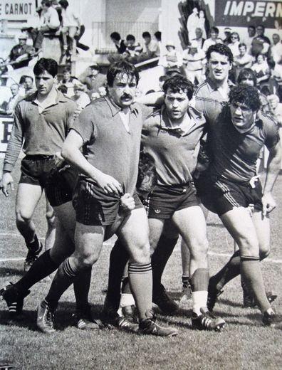 en 1986 , Henri Sanz, Gérard Durand, Didier Gontier, Eric Montels et Gilbert Spanghero.