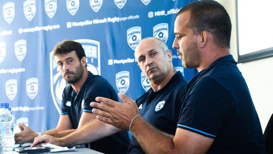Xavier Garbajosa, le manager sportif, Philippe Saint-André, le directeur du rugby et Joan Caudullo, directeur du centre de formation, lors de la conférence de presse de présentation du nouveau staff fin juin.