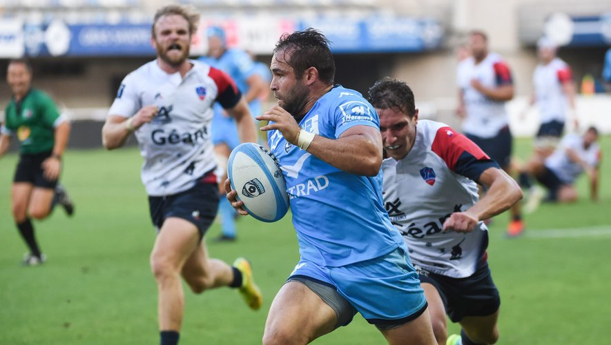 Cobus REINACH of Montpellier scores the first try  during the friendly match between Montpellier and Aurillac on August 21, 2020 in Montpellier, France. (Photo by Alexandre Dimou/Icon Sport) - Altrad Stadium - Montpellier (France)