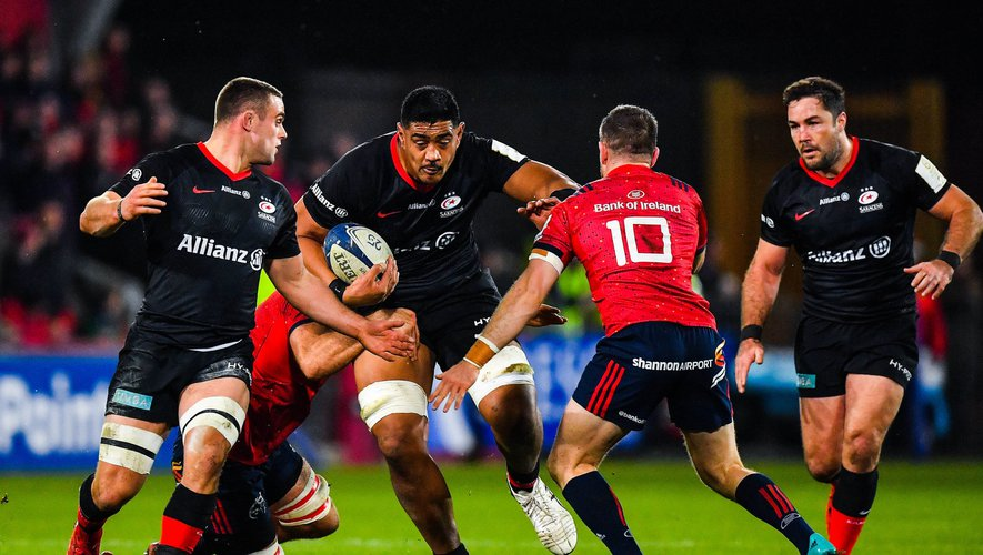 7 December 2019; Will Skelton of Saracens is tackled by Tadhg Beirne of Munster  during the Heineken Champions Cup Pool 4 Round 3 match between Munster and Saracens at Thomond Park in Limerick. Photo by Brendan Moran/Sportsfile    Photo by Icon Sport - Tadhg BEIRNE - Will SKELTON - Thomond Park - Limerick (Irlande)