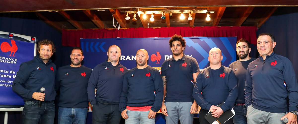 Fabien GALTHIE and Laurent LABIT and William SERVAT and Thibault GIROUD and Karim GHEZAL and Shaun EDWARD and Raphael IBANEZ   during the presentation of the new staff of the French Rugby team on November 13, 2019 in Cahors, France. (Photo by Manuel Blondeau/Icon Sport) - Fabien GALTHIE - Laurent LABIT - Shaun EDWARDS - Raphael IBANEZ - William SERVAT - Thibault GIROUD - Karim GHEZAL - Montgesty (France)