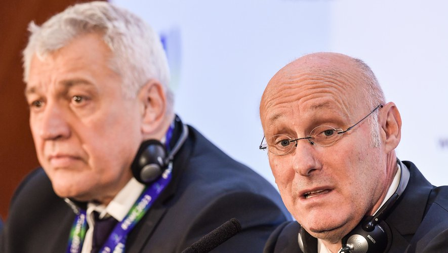 15 November 2017; President of the Fédération Française de Rugby Bernard Laporte with Director of the France 2023 bid Claude Atcher, left, after the Rugby World Cup 2023 host union announcement at the Royal Garden Hotel, London, England. Photo by Brendan Moran/Sportsfile/ Icon Sport