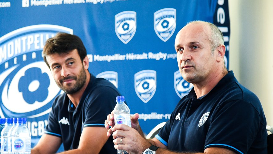 Philippe SAINT-ANDRE rugby director of Montpellier and Xavier GARBAJOSA head coach of Montpellier   during press conference on June 29, 2020 in Montpellier, France. (Photo by Alexandre Dimou/Icon Sport)