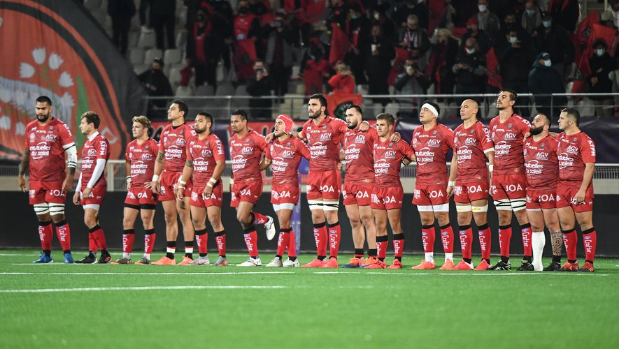 Team of Toulon during the Final Challenge Cup match between Bristol Bears and RC Toulon on October 16, 2020 in Aix-en-Provence, France. (Photo by Anthony Dibon/Icon Sport) - Stade Maurice David - Aix en Provence (France)