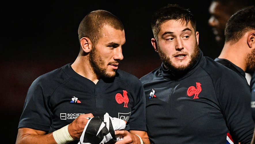 Gabin VILLIERE of France and Cyril BAILLE of France during the training session of France at Centre national de rugby on October 28, 2020 in Marcoussis, France. (Photo by Matthieu Mirville/Icon Sport) - Centre National du Rugby - Marcoussis (France)