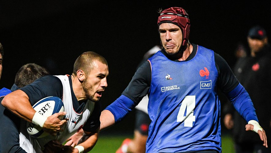 Gabin VILLIERE of France and Bernard LEROUX of France during the training session of France at Centre national de rugby on October 28, 2020 in Marcoussis, France. (Photo by Matthieu Mirville/Icon Sport) - Bernard LE ROUX - Gabin VILLIERE - Centre National du Rugby - Marcoussis (France)