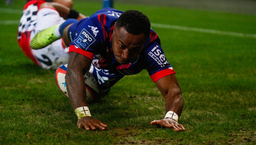 Benito MASILEVU of Grenoble try during the Pro D2 match between Grenoble and Valence on October 17, 2020 in Grenoble, France. (Photo by Romain Biard/Icon Sport) - Benito MASILEVU - Stade des Alpes - Grenoble (France)