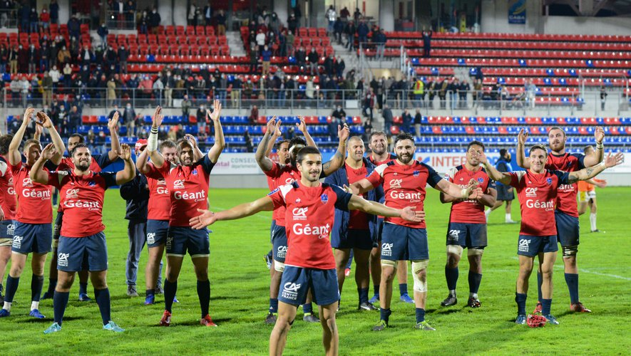 Team of Aurillac during the Pro D2 match between Aurillac and Nevers on October 9, 2020 in Aurillac, France. (Photo by Romain Longieras/Icon Sport) - --- - Stade Jean Alric - Aurillac (France)