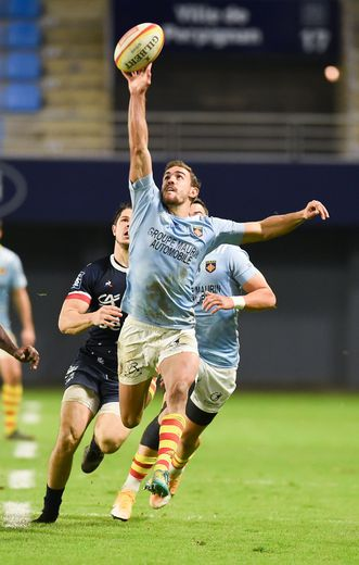 Melvyn JAMINET of Perpignan  during the Pro D2 match between Perpignan and Aurillac at Stade Aime Giral on November 27, 2020 in Perpignan, France. (Photo by Alexandre Dimou/Icon Sport) - Melvyn JAMINET - Stade Aime Giral - Perpignan (France)